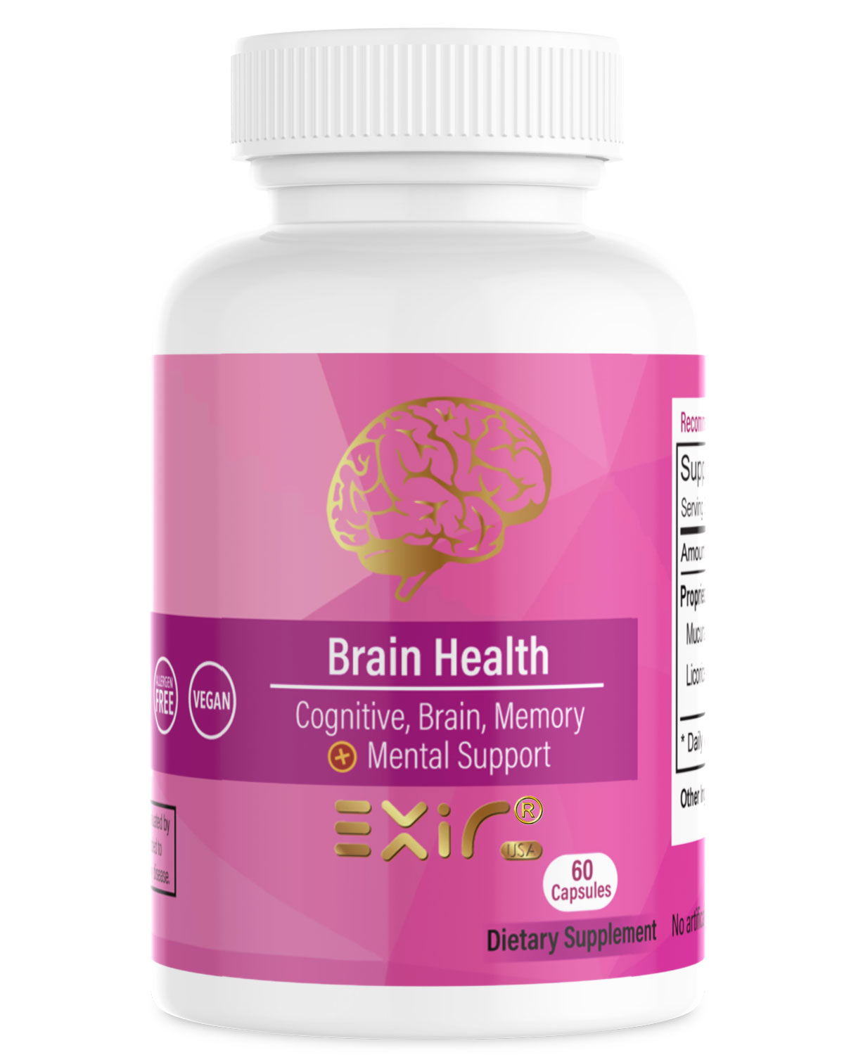 Brain Help Cognitive Brain Memory + Mental Support, 60 Capsules