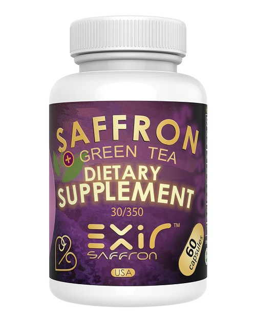 Helps Stomach Gastric Acidity, Appetite Reduction, Digestion Bloating Gas Relief - Saffron + Green Tea Supplement 30-mg, 60 Capsules