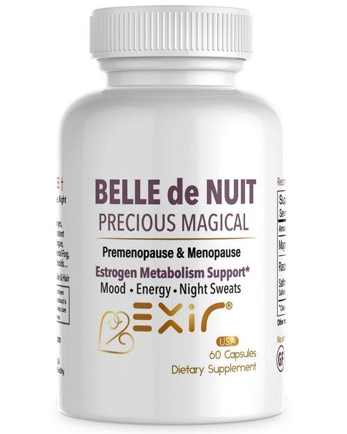 Estrogen Free Premenopause & Menopause Relief, Natural Balance Hormones, Hot Flashes, Night Sweats, Mood Swings, Boost Energy, Loose Weight Belle de Nuit, 60 Capsules